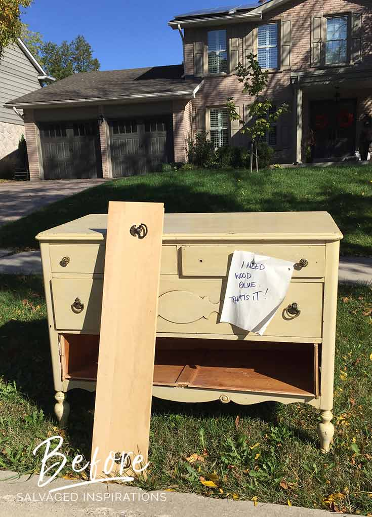 Curb Shopped Vintage Dresser w Broken Drawer