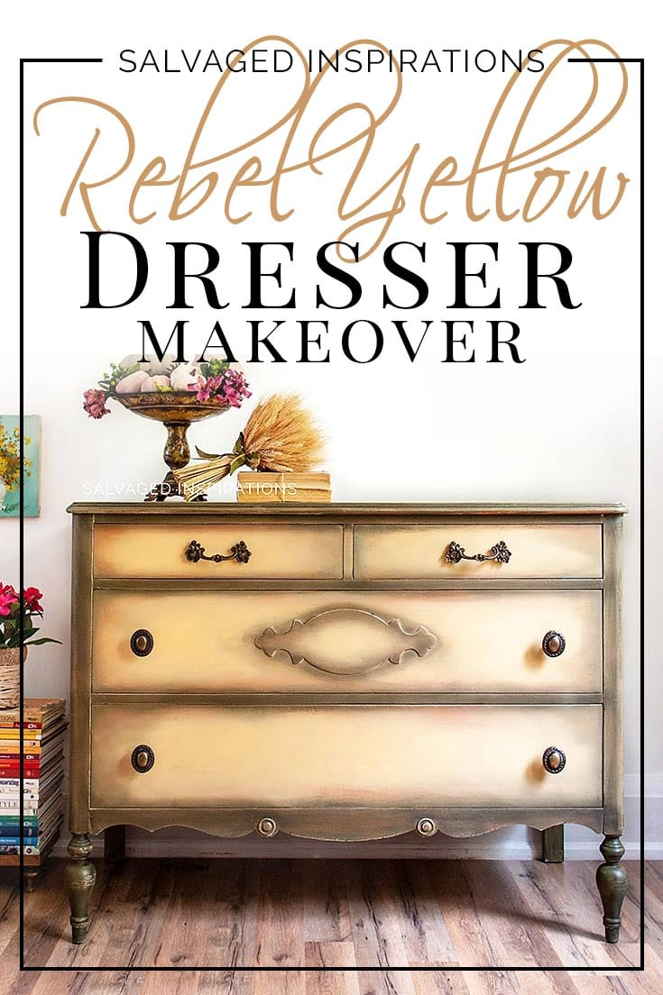 Rebel Yellow Salvaged Dresser Makeover - Painted Furniture