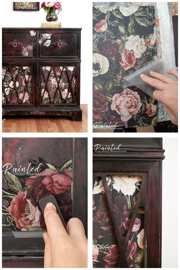 Upcycled Vintage Radio Cabinet w Furniture Transfers