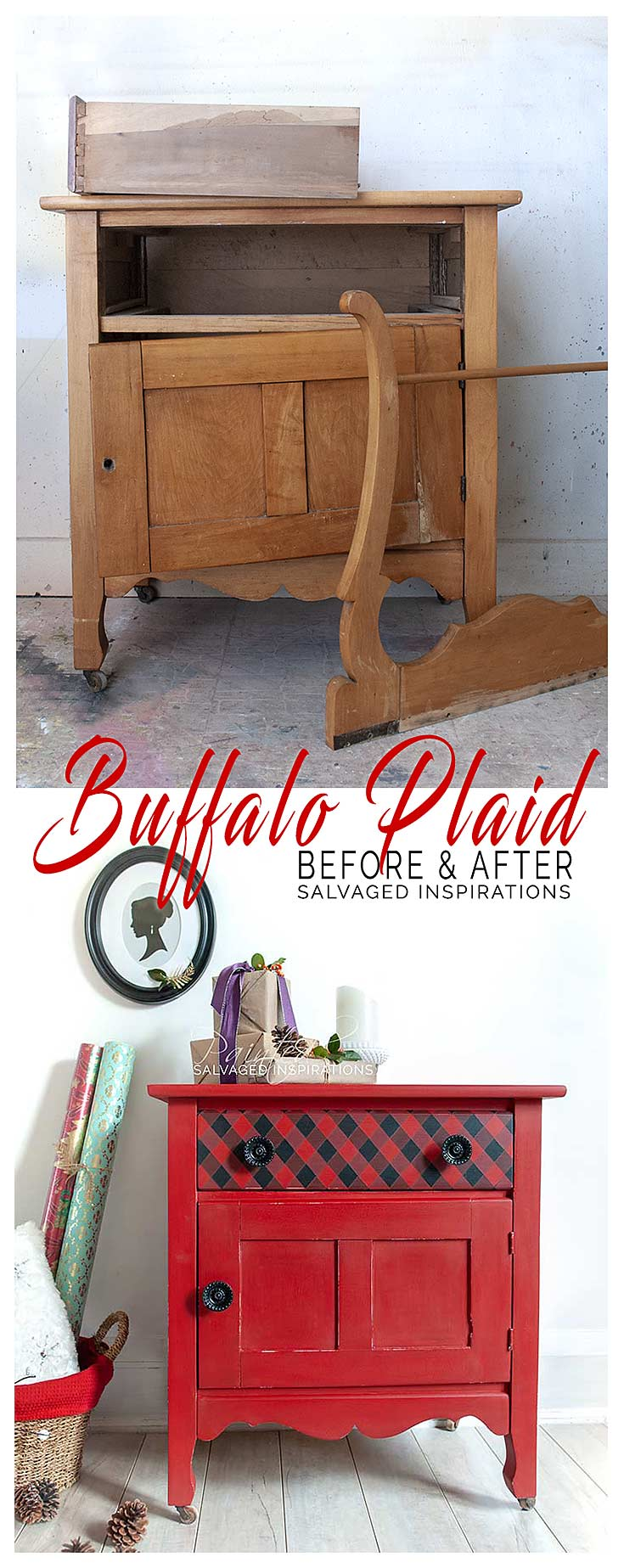 Before And After Painted Buffalo Plaid Makeover