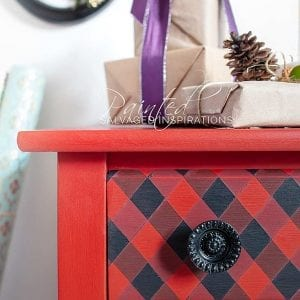 Close Up of Painted Buffalo Plaid on Furniture