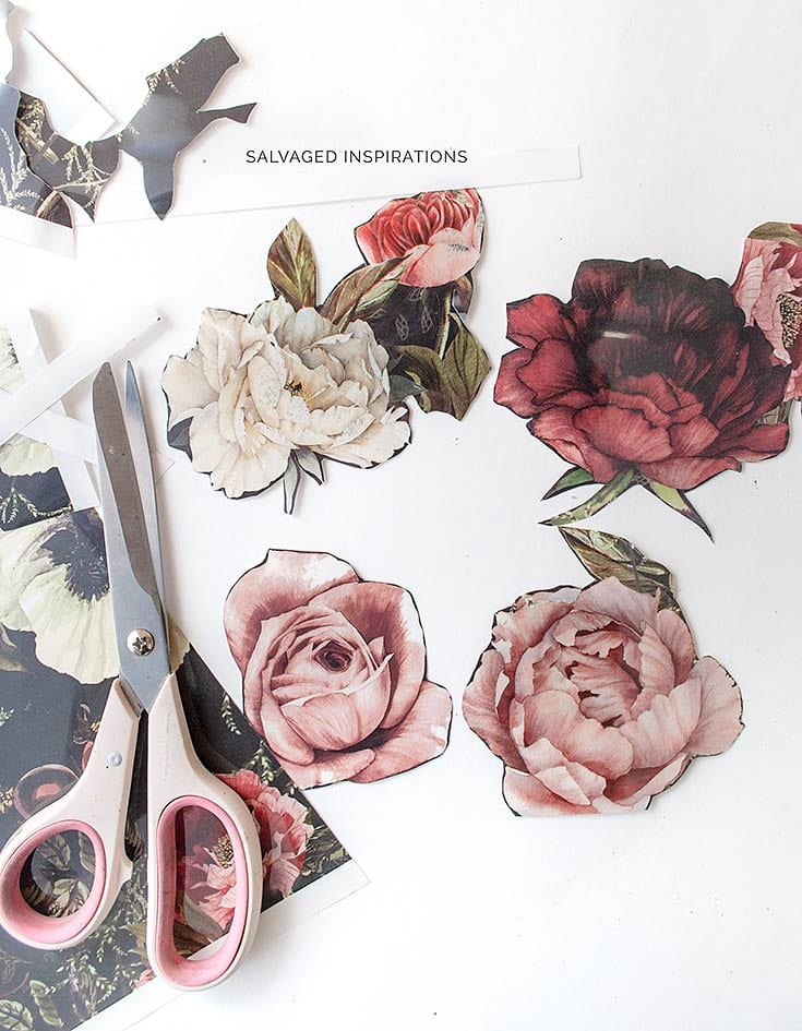 Cutting Out Florals from Furniture Transfers