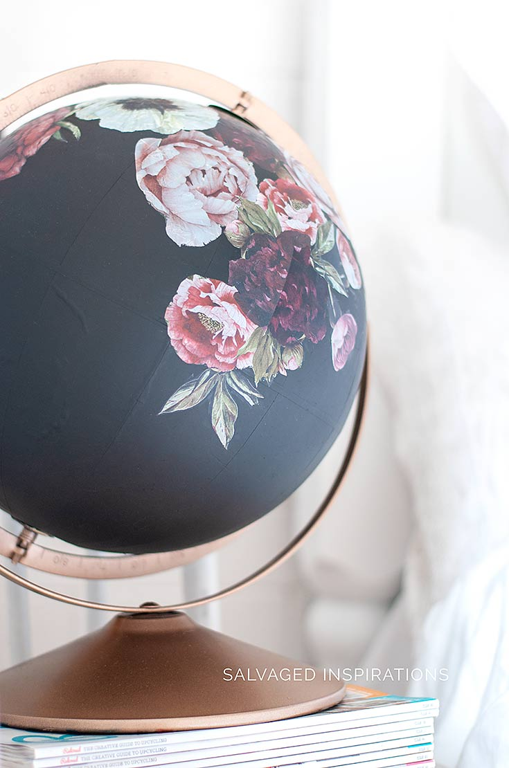 DIY Painted Globe w Rub-On ReDesign Transfers