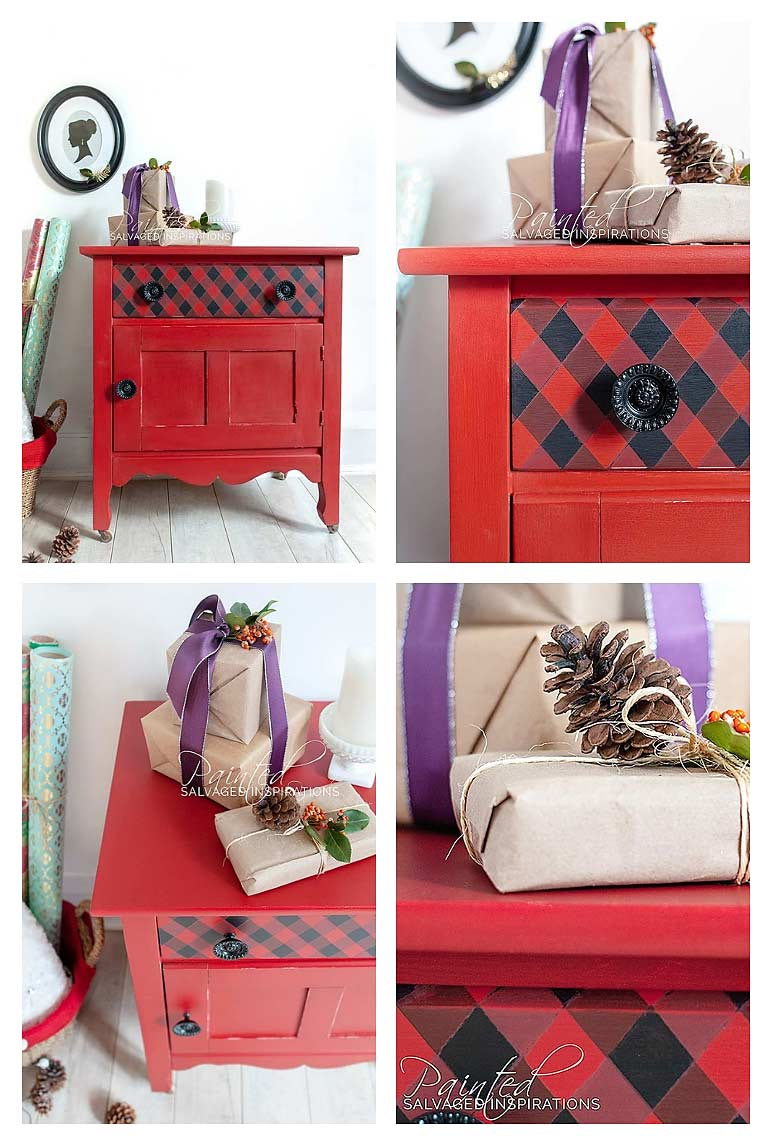 How To Paint Buffalo Plaid on Furniture Collage