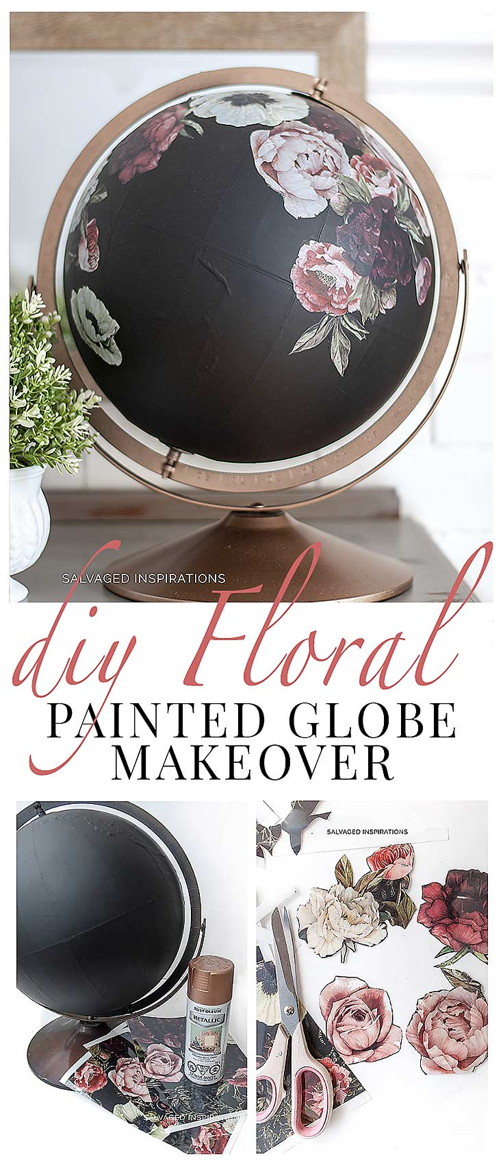 Painted Globe w Furniture Transfers