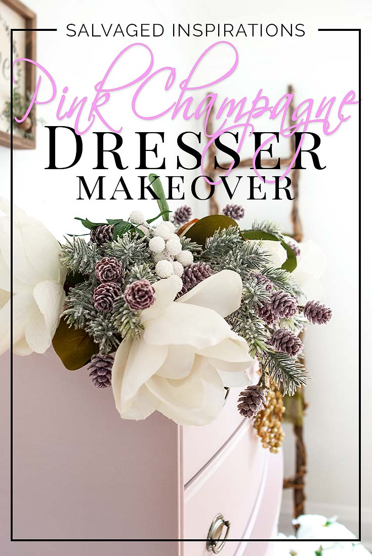 Christmas Greenery on Pink Champagne Dresser