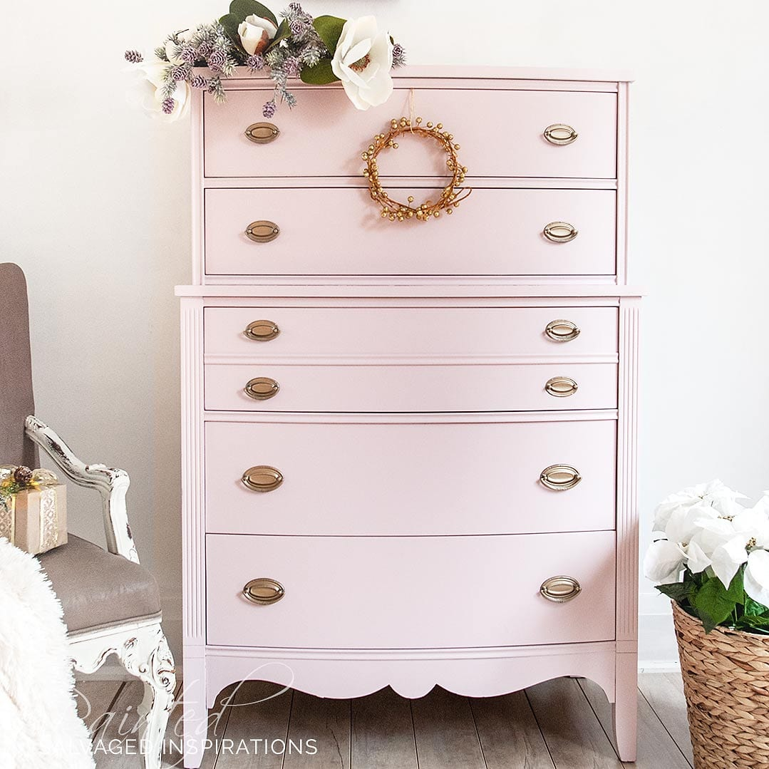 Painted Furniture Tallboy Pink Dresser MakeoverIG