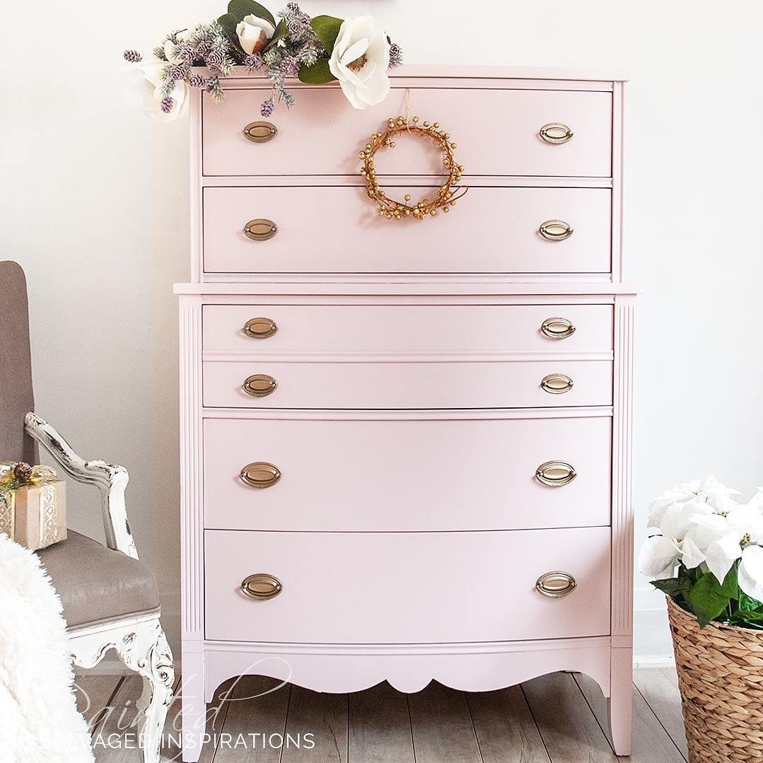 Painted Furniture Tallboy Pink Dresser MakeoverIG