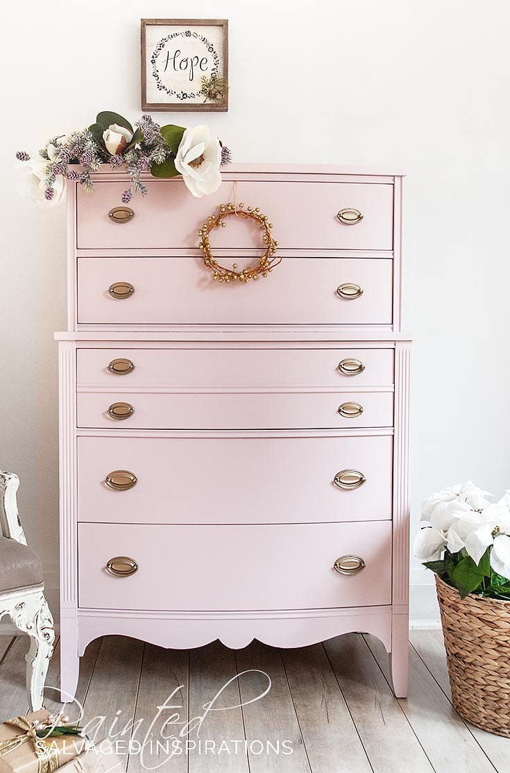 Painted Furniture1 Tallboy Pink Dresser Makeover
