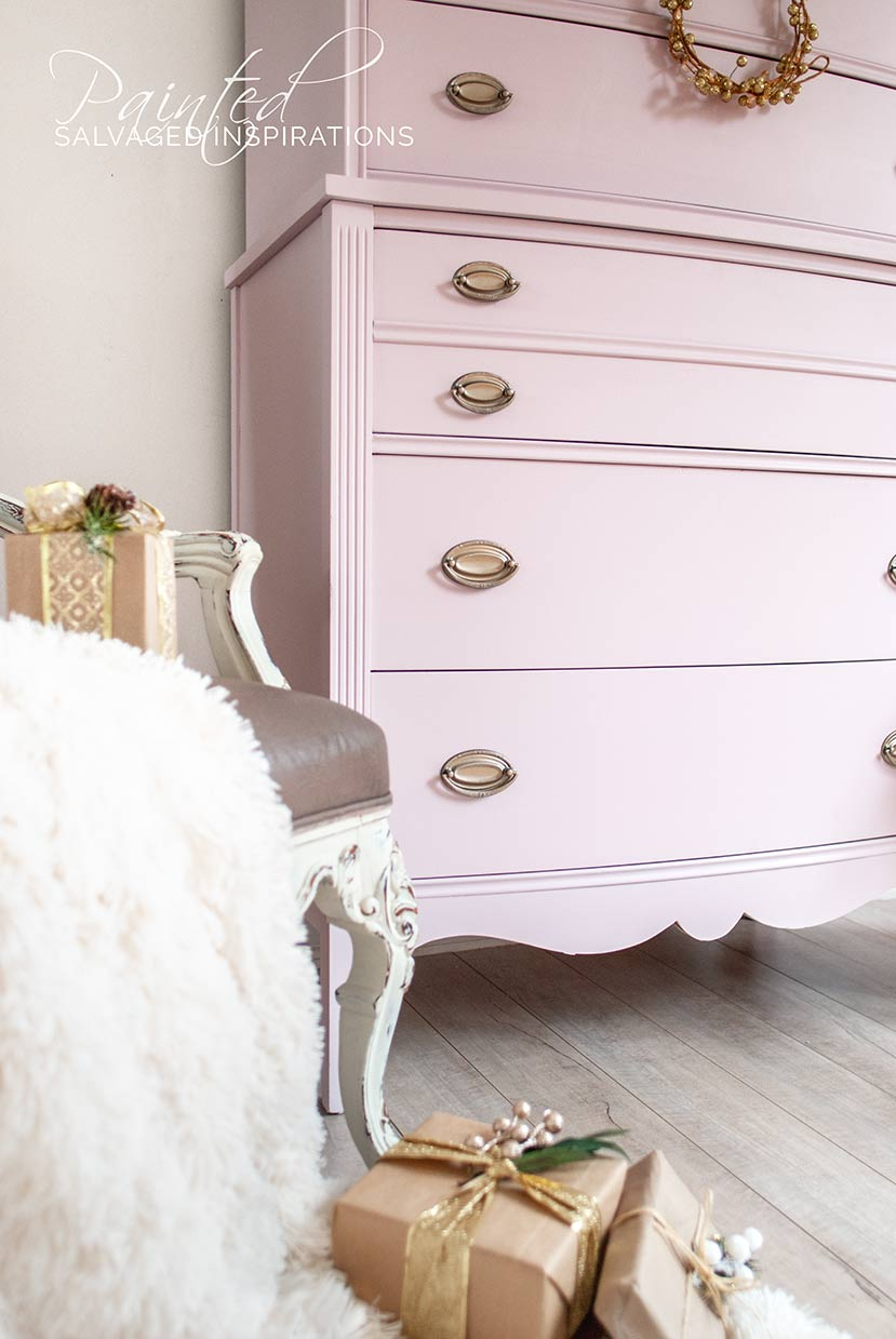 Side View of Pink Champagne Painted Dresser