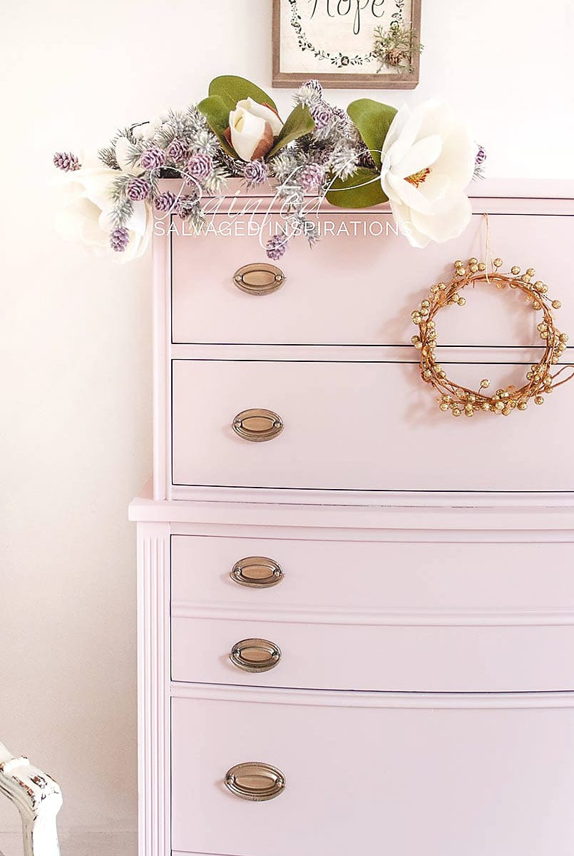 Xmas Pink Champagne Painted Tallboy Dresser