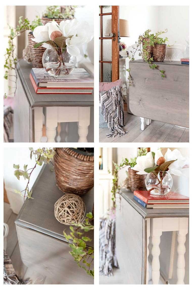 Antique Drop Leaf Table Weathered Wood Makeover