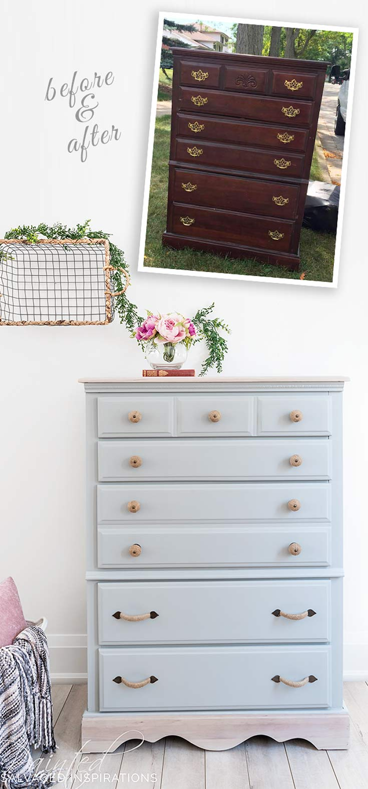 Before and After DIY Salvaged Dresser Makeover