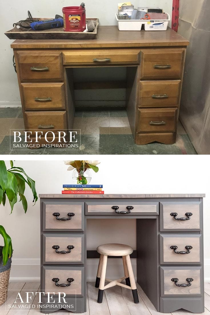 Before and After Old Desk Update