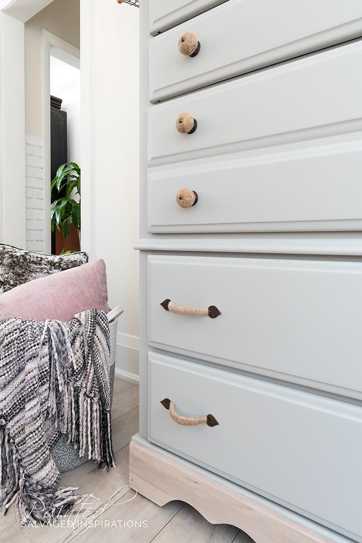 Burlap Hardware on DIY Dresser Makeover
