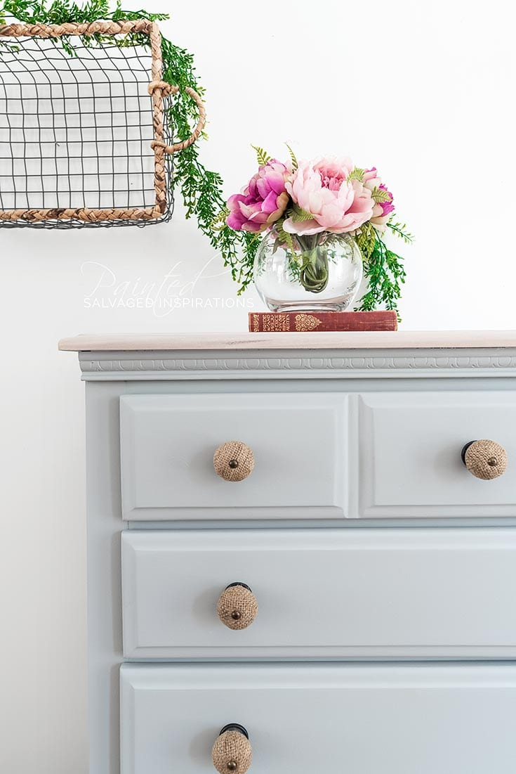Close Up of Salvaged DIY Dresser Makeover