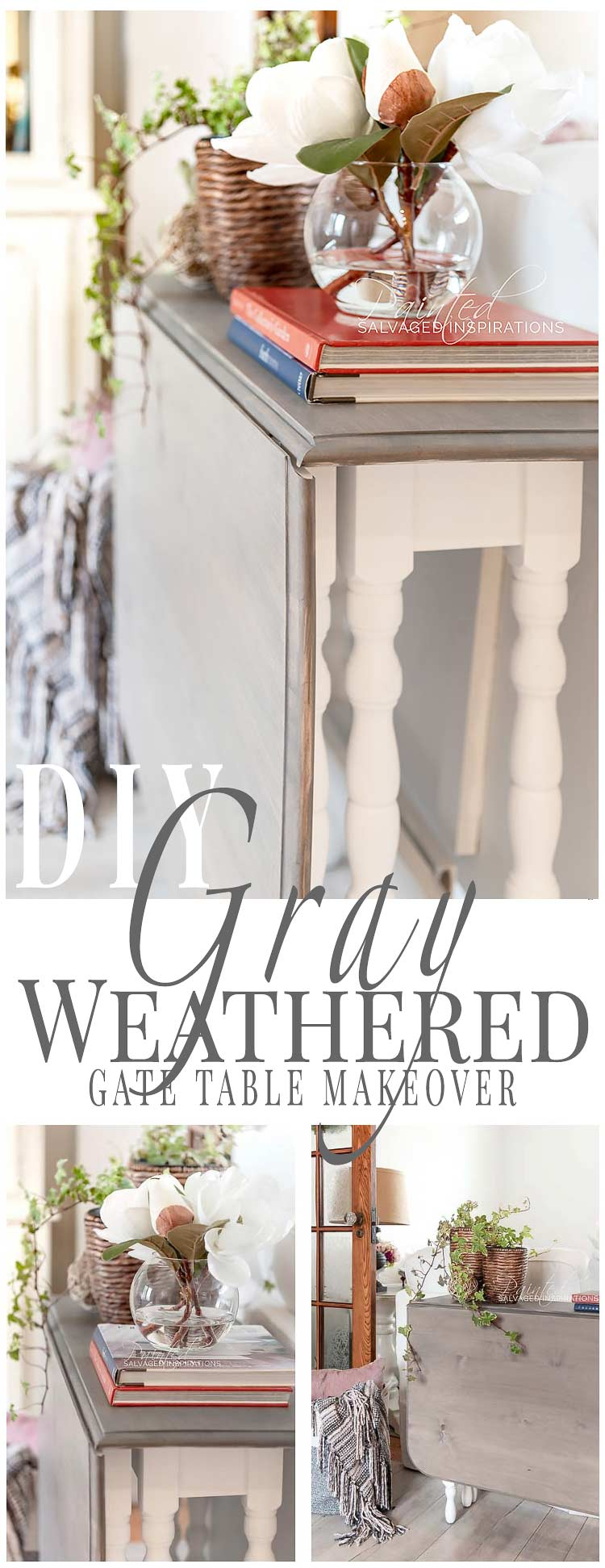 DIY Weathered Gray Stain Gate Table Makeover