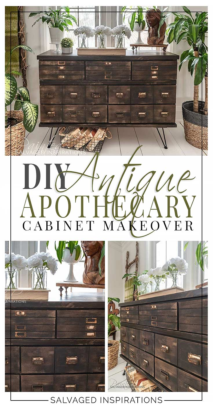 Antique Apothecary Cabinet Makeover WIth DIY Drawers
