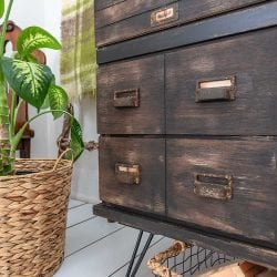 Close Up Of Faux Drawers on Apothecary Cabinet
