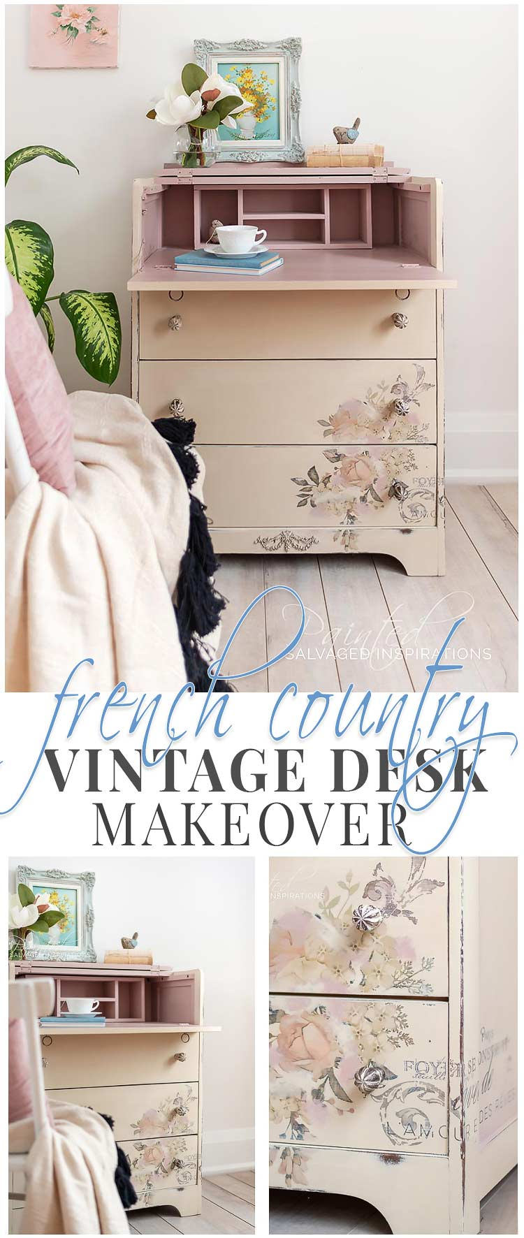 French Country Vintage Desk Makeover