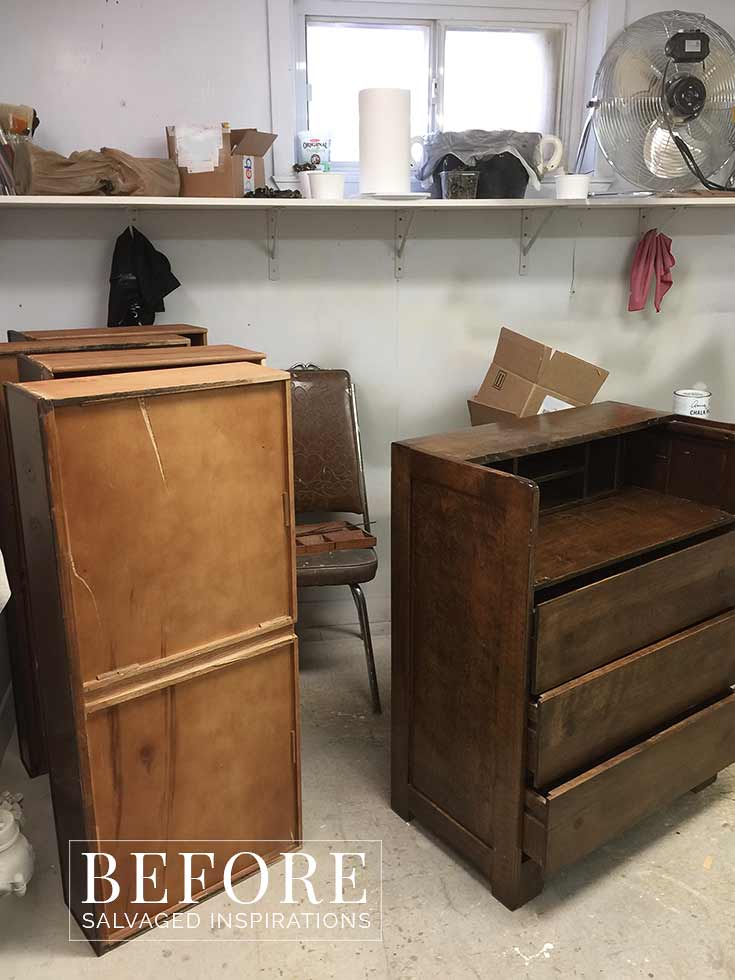French Country Vintage Writing Desk Before