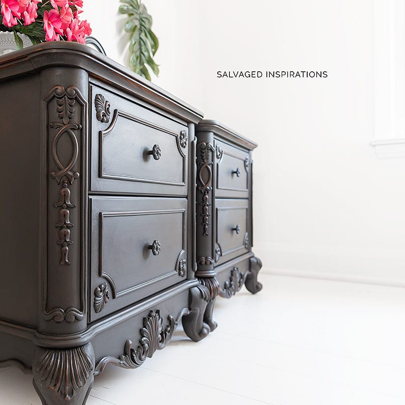 Black Wash on Painted NightStands Side View