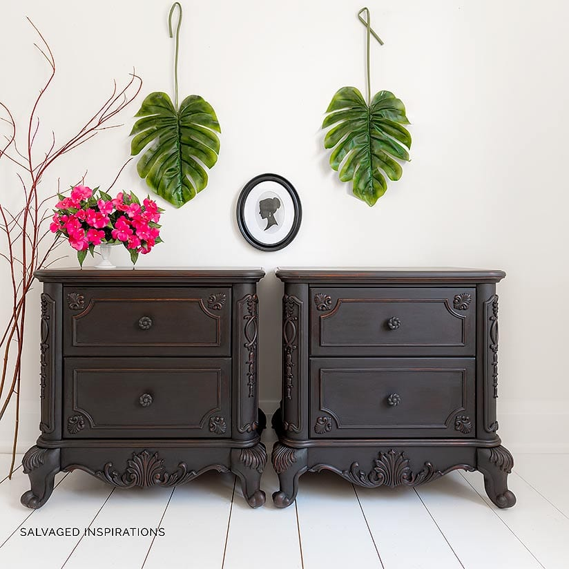 Black Wash over Cherry Finish Nightstand Makeover IG