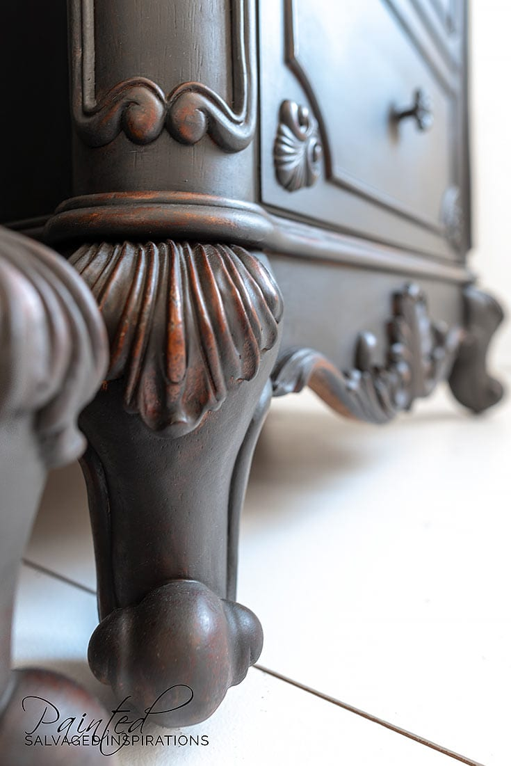 Close Up of Black Paint Wash on Cherry Nightstand