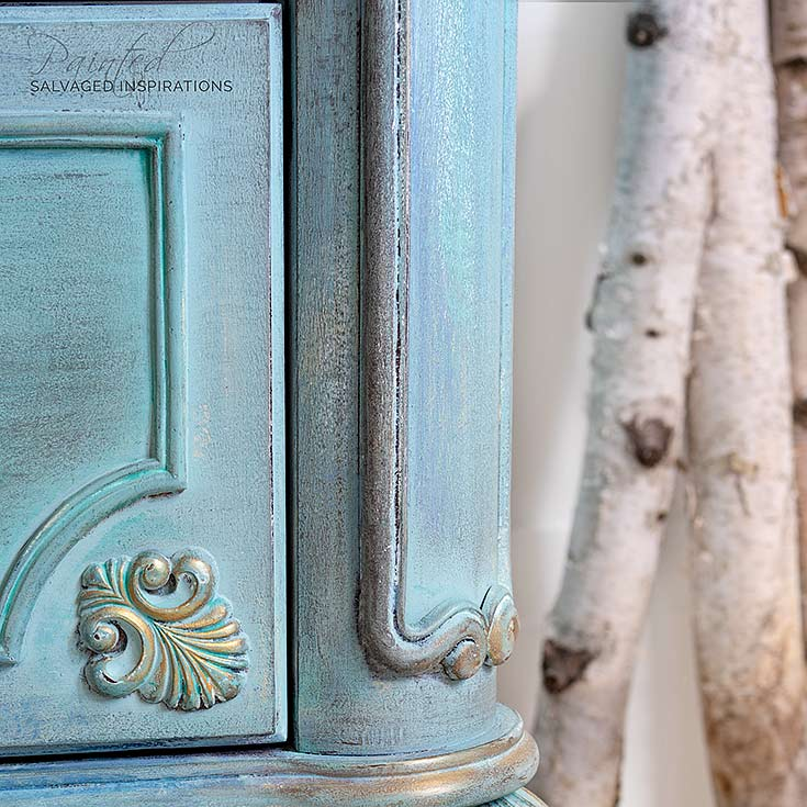 Close Up of Layered Painted Spring Dresser