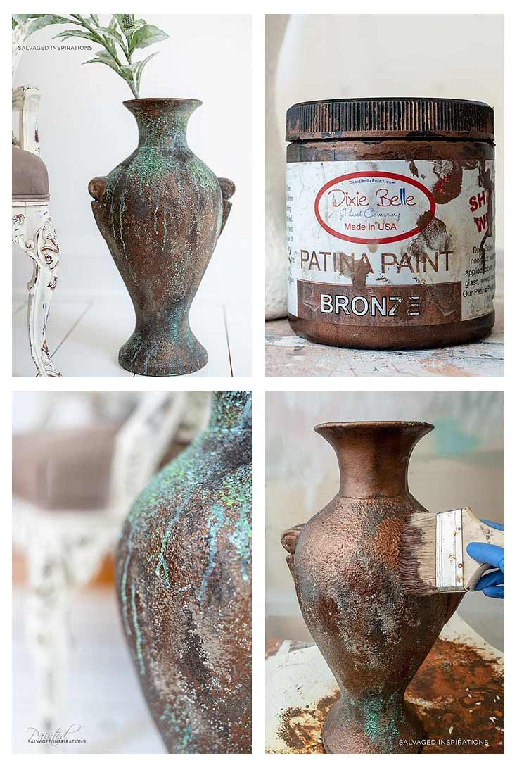 Dixie Belle Patina Paint in Bronze - Vase Makeover
