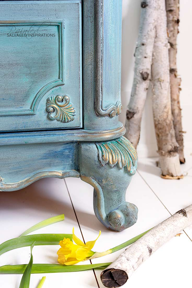 Spring Blue and Teal Painted Dresser