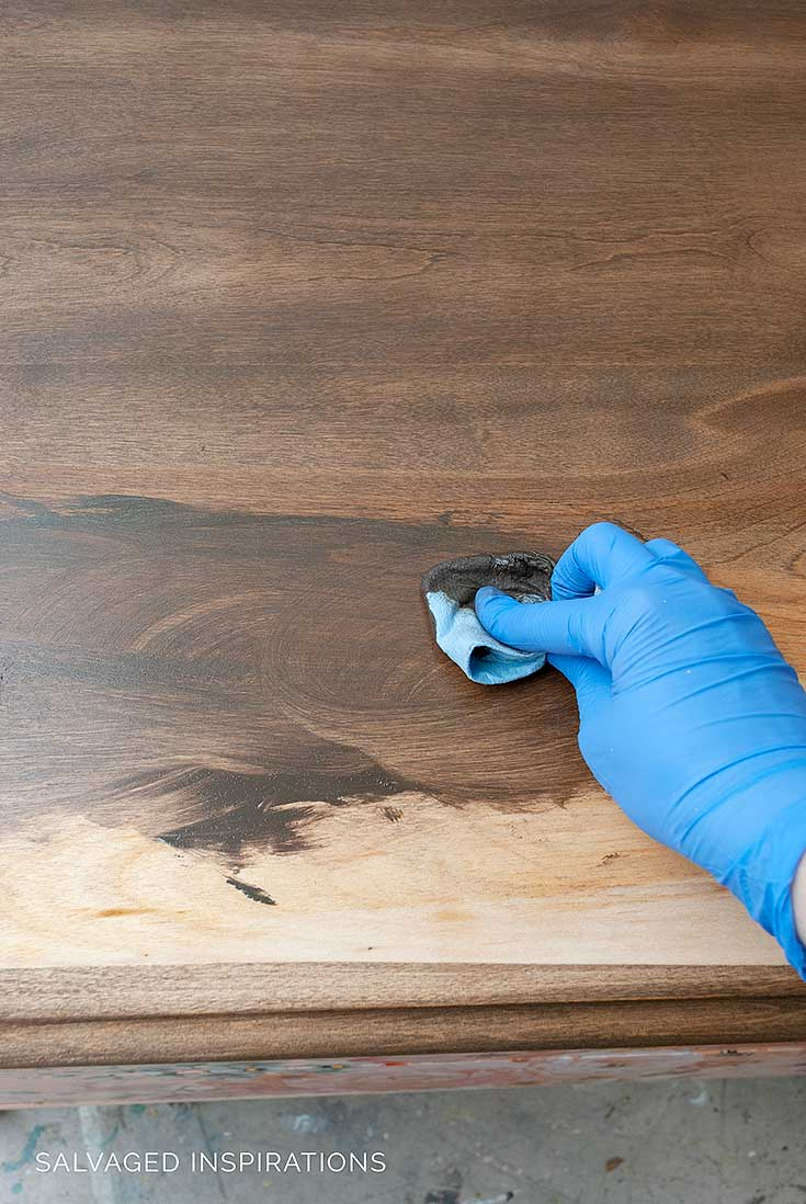 Applying DB No Pain Gel Stain in Walnut