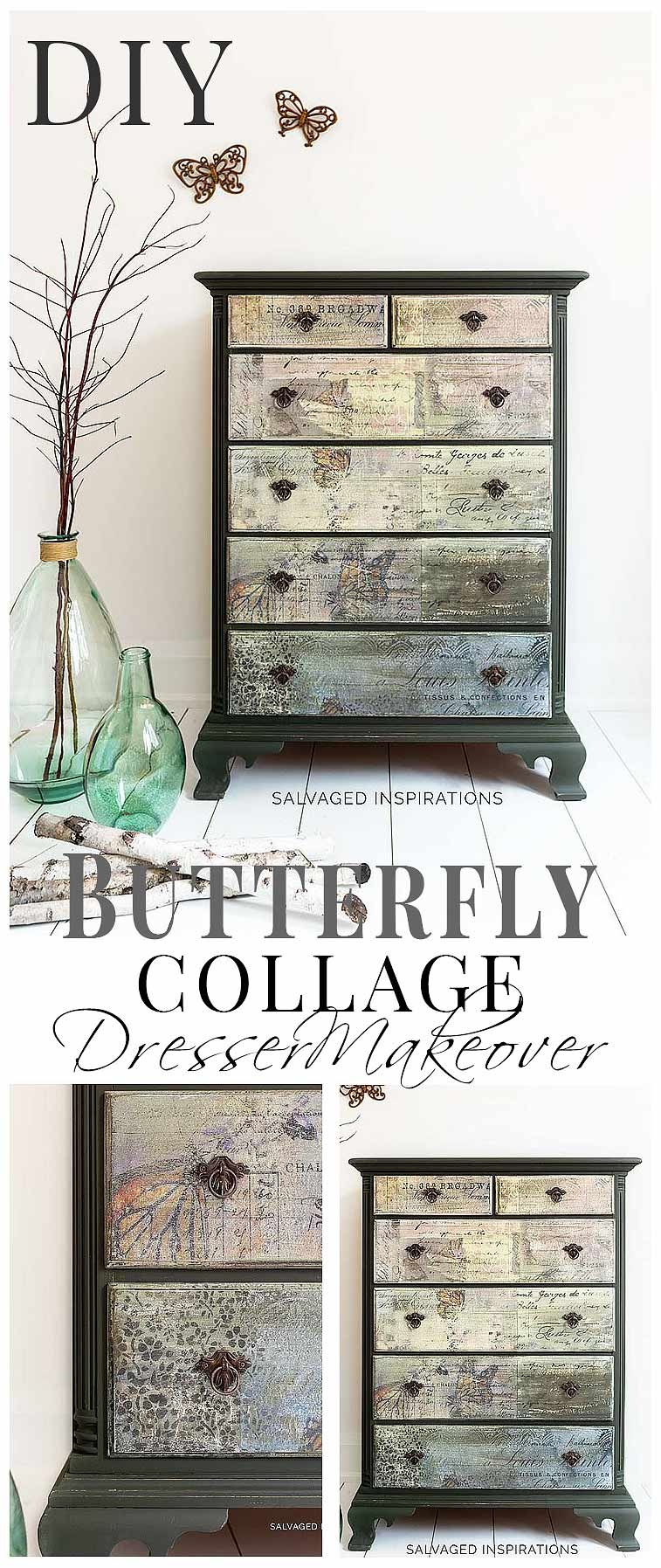 Butterfly Collage Dresser Makeover_Salvaged Inspirations