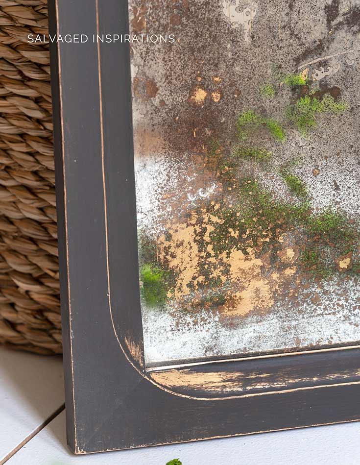 Close Up Of DIY Antique Mirror w Bleach