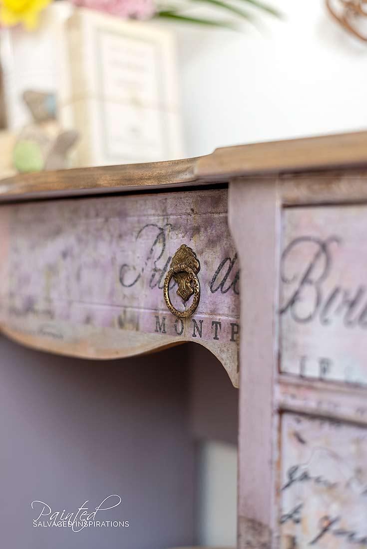 Close Up of Sanded Lip on Vintage Dresser