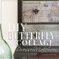 DIY Butterfly Collage Dresser Makeover