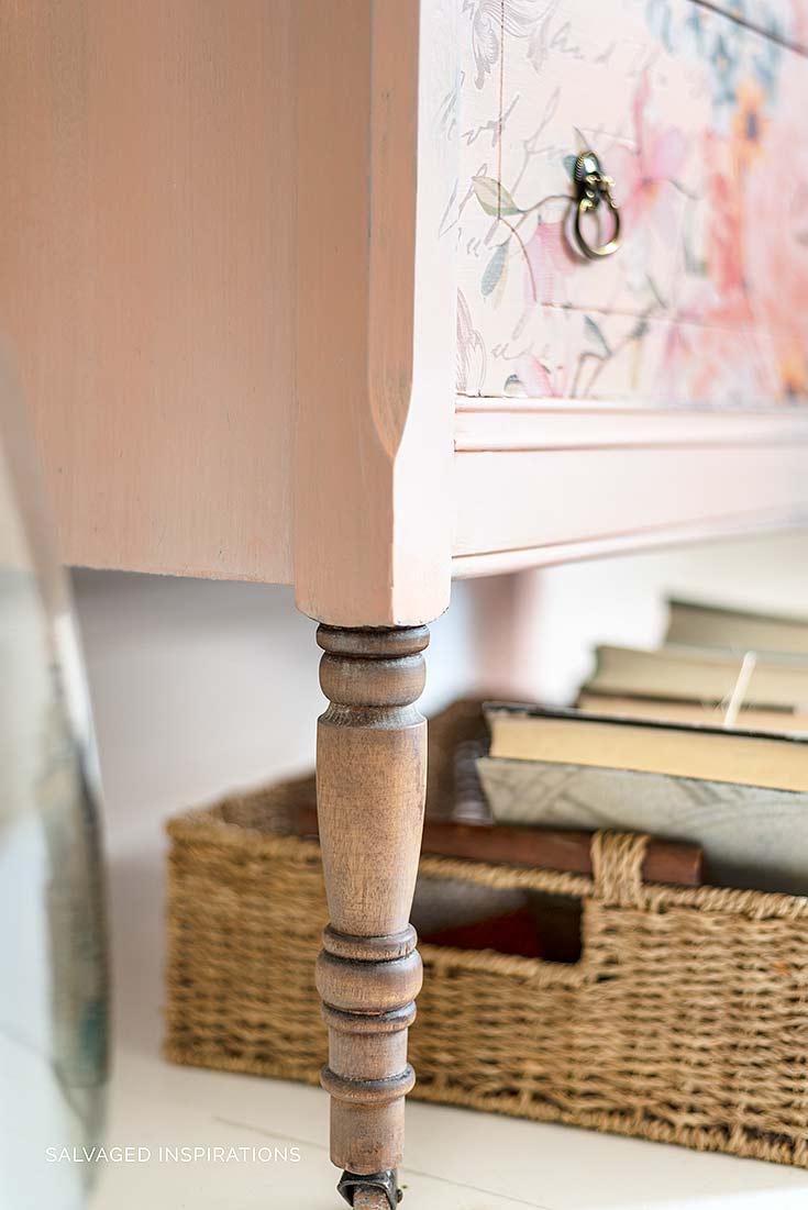 Floral Furniture Transfer on Apricot Vintage Dresser
