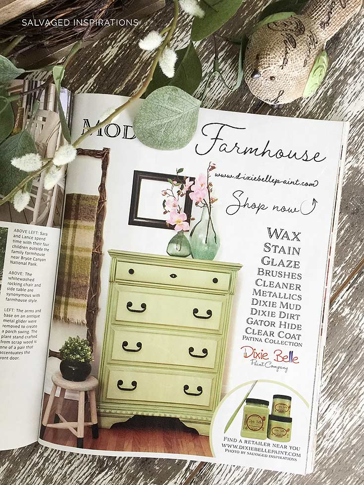 Modern Farmhouse Magazine Full Page Ad w Farmhouse Green Drsr