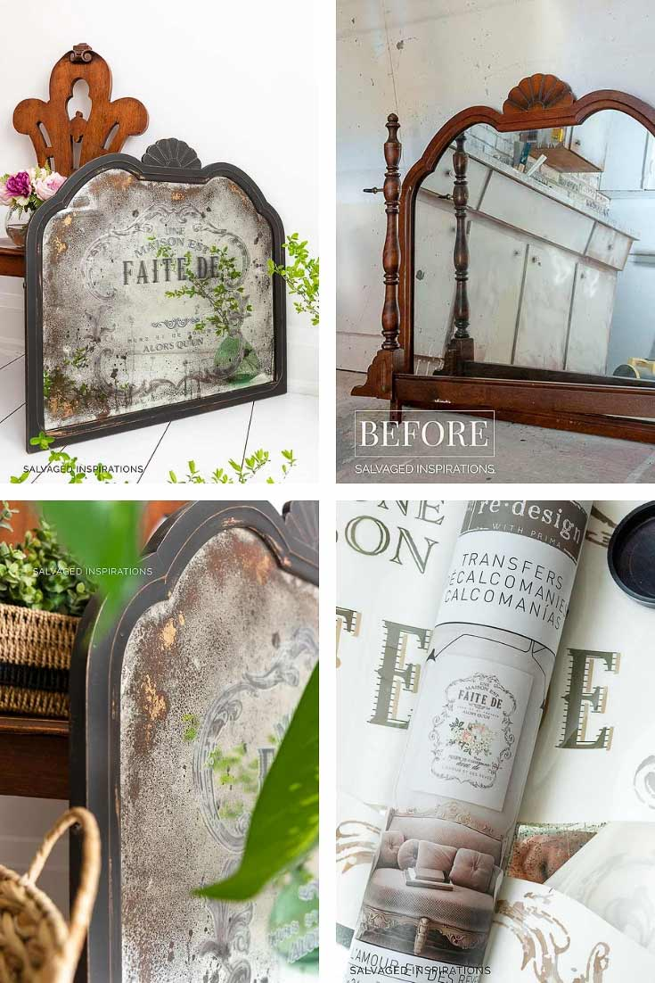 Diy Antiqued Mirror And How To Apply Prima Transfers
