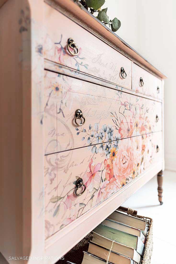Rose Celebration Floral Furniture Transfer on Vintage Dresser