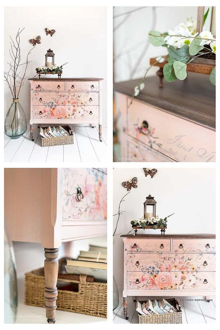 Rose Floral Furniture Transfer Vintage Dresser