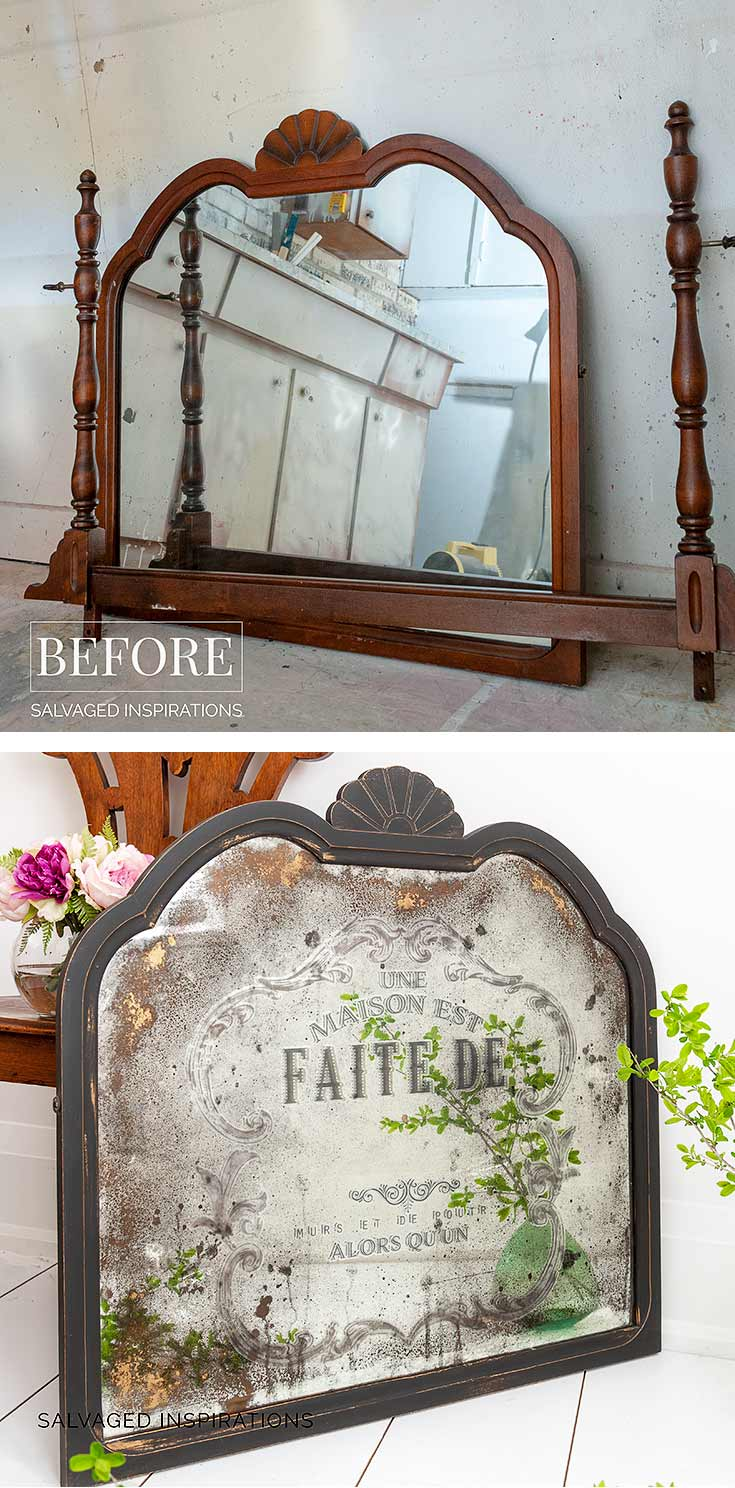 Diy Antiqued Mirror And How To Apply Prima Transfers Salvaged Inspirations