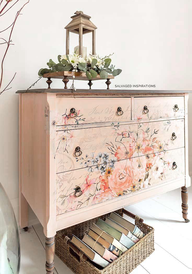 Side View of Vintage Lowboy Dresser w Floral Transfer