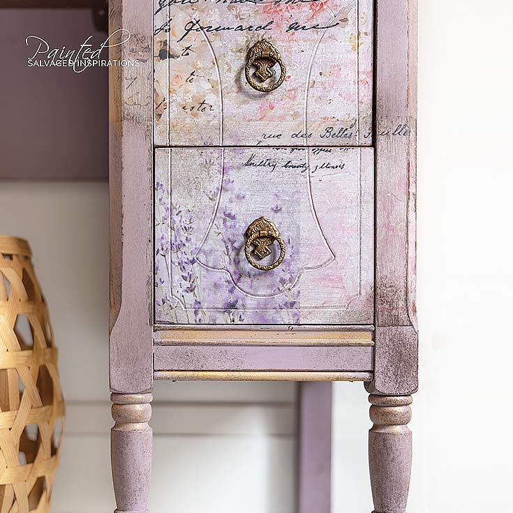 Vintage Dresser Makeover w Paint Stain Transfers IG