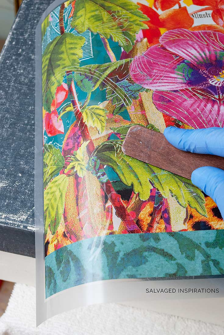 Applying Floral Transfer on Fabric Box