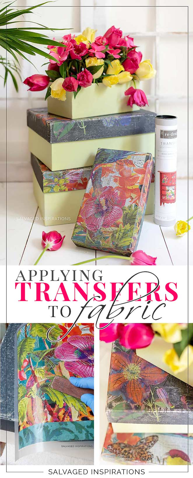 Applying Prima Transfers To Fabric _ Box Set Makeover