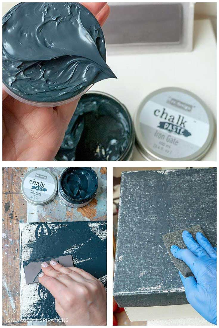 Applying reDesign Iron Gate Chalk Paste To Fabric Box