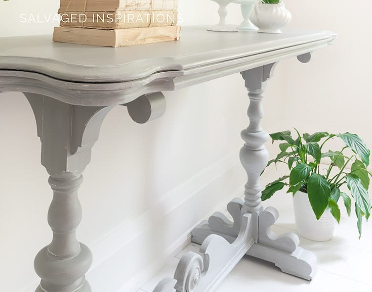Close Up Of Glazed Console Table Makeover