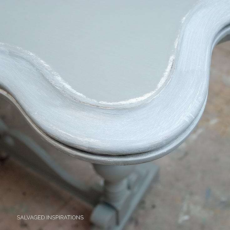 Close Up Of White Glaze on Grey Painted Console Table