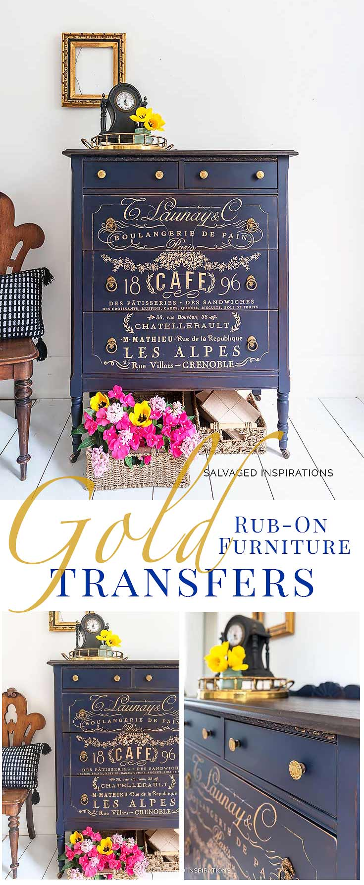 DIY Gold Rub On Furniture Transfers